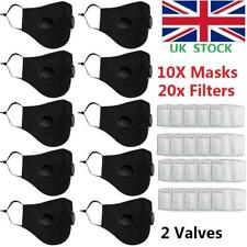 10PCS Reusable Mask With 2 Breathing Valves Face Mask +Activated Carbon Filters