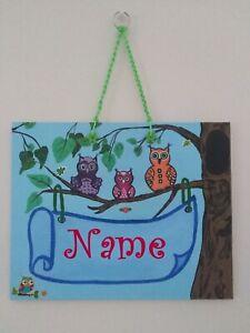 Namensschild für Kinder Schild Eule Wald Eulenfamilie acryl Panel ORIGINAL