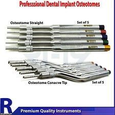10Pcs Osteotome Set Straight + Curved Concave Implant Bone Grafting Surgery Tool