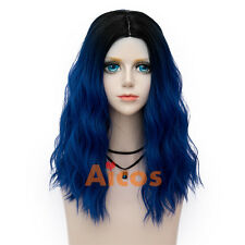 45cm Fairy Royal Blue Lolita Women's Wig Long Curly Synthetic Party Cosplay Wigs