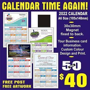 50 2022 CALENDAR MAGNET ON BACK, SMALL BUSINESS ADVERTISING, FREE DESIGN & POST