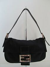 Fendi Black Nylon w/Leather Small Baguette Shoulder Bag/Purse/Handbag