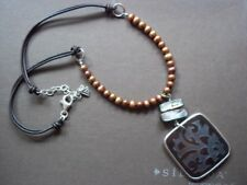 Silpada Copper Pearl Pen Etched Black Pen Shell Leather Necklace N1803 Cute!