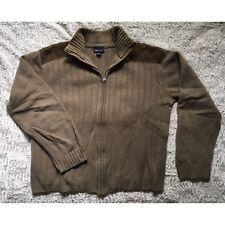 H&M L.O.G.G Sz XL Light Brown Corduroy Wool Long Sleeve Sweater Cardigan Zip Up