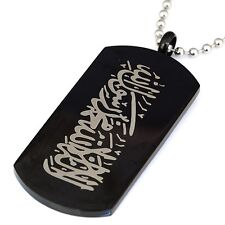 50x25MM Black Stainless Steel Muslim Arabic Islamic Necklace Pendant Aqeeq Allah