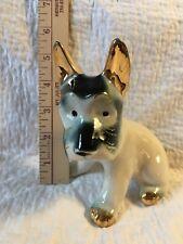 Vintage Schnauzer, Scottie, Terrier Statue, Sitting Dog Figurine Gold Trim