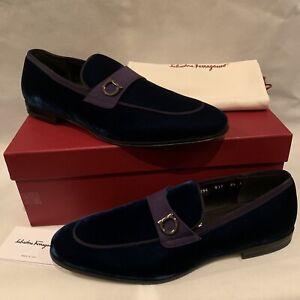 """Salvatore Ferragamo Men's """"Andrea"""" Velvet Formal Loafers Blue 8.5 E $775 NEW"""