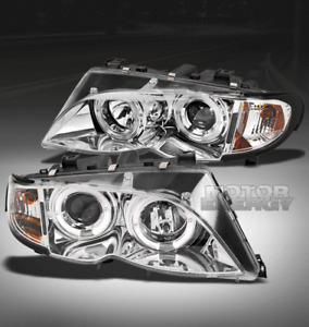 02-05 BMW E46 3 SERIES 4DR HALO PROJECTOR HEAD LIGHTS LAMP LEFT+RIGHT 325I 330I