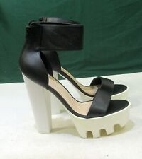 "new BLACK 6""Block White Heel 2""Platform Open Toe Ankle Strap Sexy Shoes Size  5"