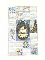 Vintage Kay Dee 1984 Magical Unicorn Calender Dish Towel Size 26 X 16 Inch