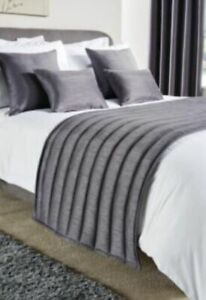 BED RUNNER Quilted Plain HOTEL QUALITY  Fire Retardant Slate Grey SINGLE RRP:£24