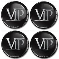 4 x 50mm Autocollant 3D Cache-Moyeux Enjoliveurs Centre De Roue VIP Argent Logo