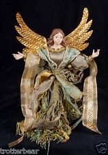 "Gloria Angel Fringe Tassel 19"" Christmas Ornament Green & Gold"