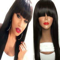 150% Brazilian Virgin Hair Straight Lace Front Human Hair Wigs With Full Bangs