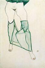 Egon Schiele Reproductions: Nude in Green Slip - Fine Art Print