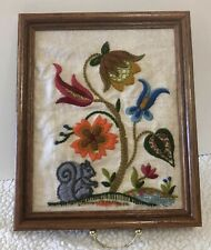 Framed Sampler Complete With Floral And Squirrel Cute. Pre-Owned 11.5x9.5
