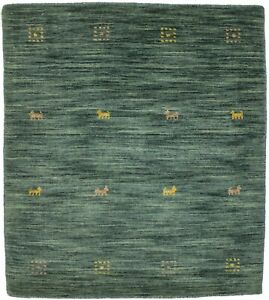 Solid Hunter Green Hand-Loomed 3X3 Contemporary Square Rug Oriental Decor Carpet