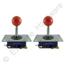 2 x Zippyy Long Shaft Ball Top Arcade Joysticks 2/4/8 Way (Red) Zippy MAME JAMMA