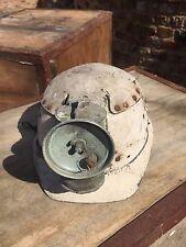 CASCO MINATORI in pelle con lampada ad olio, antico vintage.