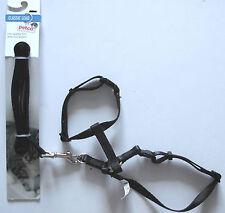 Adjustable Cat Kitten Harness Collar & Lead Set Nylon Black 3/8in x 4ft Petco