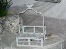 Serviettenhalter mit Vogel Metall antik weiß patiniert vintage und shabby