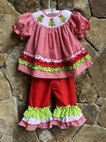 Smocked A Lot Girls Christmas Tree Red Gingham Pants Set Santa Outfit Dress