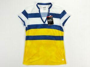 Puma Dye Stripe Golf Polo Shirt Super Lemon Milky Blue Womens SZ S ( 597702 )
