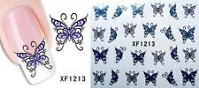 Purple Butterfly 3D Nail Art Sticker Decal Decoration Manicure Water Transfer