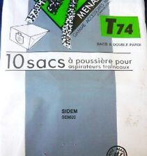 T74 MENALUX 30 sacs pour aspirateur SIDEM SIDEX CURTISS DICAFF EXPRESS VETRELLA