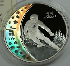 2007 Canada $25 Silver Holographic Proof Coin-Alpine Skiing-2010 Vancouver-w/COA