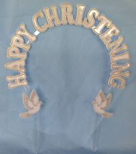 """Happy Christening cake decoration white plastic arch 9"""" x 9"""" gold accent"""