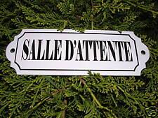 PLAQUE DE PORTE EMAILLEE salle d'attente  EMAIL  VERITABLE 800°C neuve F. FRANCE