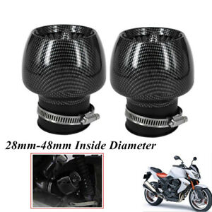 2PCS Carbon Fiber Air Intake Filter 28mm-48mm Caliber For Motorcycle ATV Scooter
