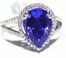 5.16CT 18K Gold Natural Tanzanite Diamond Vintage AAA Wedding Engagement Ring