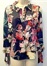 Just Cavalli Black Floral Stretch Blouse Size Small, IT40, Bow Tie Sleeve Cuffs