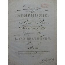 BEETHOVEN Symphonie No 2 Piano Violon Violoncelle ca1808 partition sheet music s