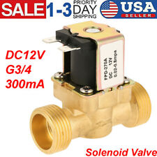 DC12V Volt G3/4 Normally Closed Electric Solenoid Valve Water Brass w/Arrow Sign