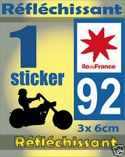 1 Sticker REFLECHISSANT département 92 rétro-réfléchissant immatriculation MOTO