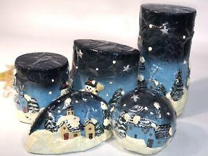 Christmas Snowmen Candles 5 Blue Snowflakes Holiday Gift Set