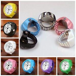 Vibrant Candy Color Big Numbers Mini Finger Ring Watch Elastic Band Quartz Watch