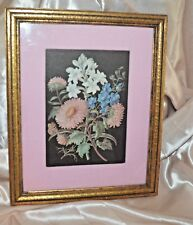 VINTAGE FLORAL Still Life  PRINT PINK FABRIC MAT GOLD WOOD FRAME WALL 9x11