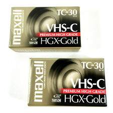 Maxell HGX-Gold TC-30 VHS-C Premium High Grade Video Cassette Tapes NEW 2 Pack