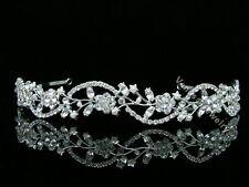 Bridal Floral Rhinestone Crystal Pearls Prom Wedding Headband Tiara 8596