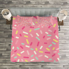Pink and White Quilted Bedspread & Pillow Shams Set, Donut Sprinkles Print