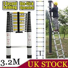 3.2M Multi Purpose Telescopic Aluminium Ladder Portable For Home Loft Hi Quality