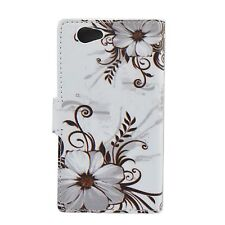 Leather Flip Stand Phone Card Wallet Cover Case For Sony Xperia Z1 Compact Mini