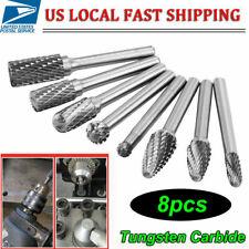 1/4'' Double Cut Tungsten Steel Carbide Rotary Burr Die Grinder Shank Bit Set US
