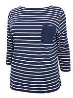 Navy Blue Striped Cotton Top Size 22/24 Marine Ladies Plus T-shirt 263