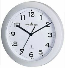 Precision Radio Controlled Analogue Wall Clock White 23cm Diameter PREC0062