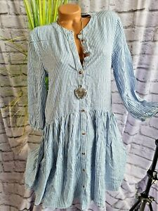Tom Tailor Kleid Damen Blusenkleid 3/4 Ärmel blau weiß gestreift (943) NEU